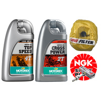 KTM SX85 & SX85 Big Wheel (13-17) Motorex Oil + NGK + Uni Filter Engine Service Kit